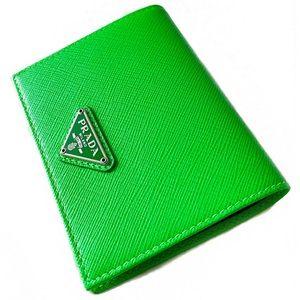 PRADA Saffiano Leather Wallet in Green NWT